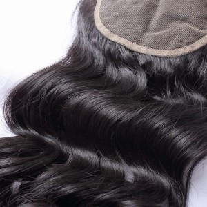 100% Unprocessed Brazilian Virgin Hair Loose Wave 5x5 Lace Closure With Baby Hair