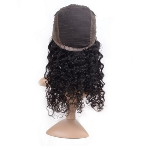 150% Density Lace Front Wig Deep Wave 100% Unprocessed Natural Black